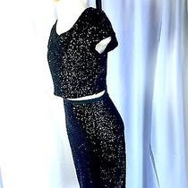 Express 2 Piece Black Fitted Sequins Crop Top Skirt Party Night Out Set Fitted S Photo
