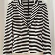 Express 22 Inch Horizontal Stripe Knit Stretch Blazer Jacket Black Off-White Xs Photo