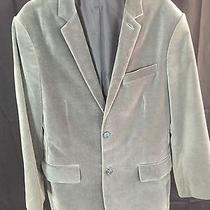 Express 42l Blazer Sports Coat Jacket Lined 100% Cotton Poly Velvet Moss Green Photo