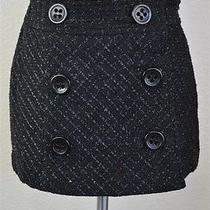 Express 89% Acrylic 11% Poly Black Button Metallic Wrap Skirt Womens Size 0 Photo