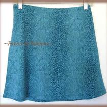 Express Aqua Snakeskin Print Mini Skirt Size Small Photo
