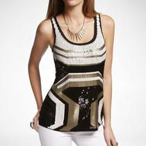 Express Art Deco Ikat Black White Gold Sequin Tank Xs Photo
