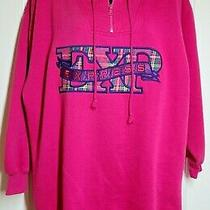 Express Athletique 1/4 Zip Oversized Hoodie Sweatshirt Hot Pink Plaid Size Xs Photo