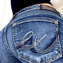 Express Barely Boot Low Rise Womens Denim Blue Jeans Size 6 X 32. Flaws Photo