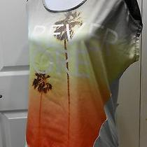 Express Beach and Sunset Print With Open Sheer Back Top Size Small Photo