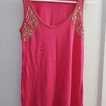Express Beaded Sequin Sleeveless Scoop Neck Jersey Tank Top Hot Pink Size Xs Photo