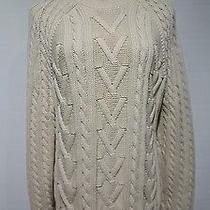 Express Beige Heavy Cable Knit Crewneck Cotton Sweater Size L Photo
