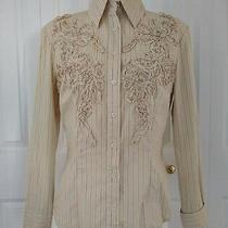 Express Beige Striped Button Down Top Shirt Size 8 Photo
