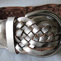 Express Belt Size S Leather Metallic Pewter Wide Braided Nwd 49.50 Photo