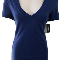 Express Best Loved Tee Royal Blue Size Xs Sexy Deep v-Neck New Wt Original Tags Photo