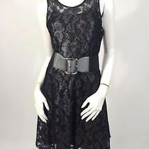 Express Black and Gray Floral Lace Dress With Stretch Belt Detail  Size M Photo