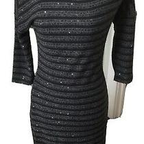 Express Black and Grey Stripes With Sequins Dress Small Petite Knit Lined Photo