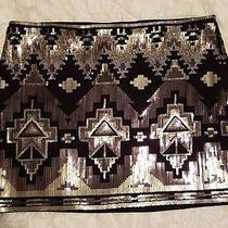 Express Black Aztec Sequined Mini Skirt Large Photo
