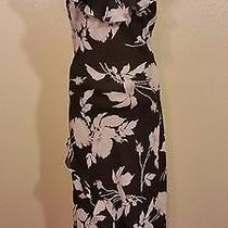 Express Black Beige Floral Ruffle Hi-Low Romantic Casual Dress 7/8 Free Shipping Photo