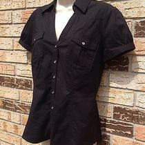 Express Black Blouse Button Front Short Sleeve Sz M/l Photo