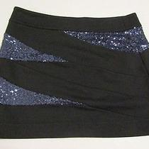 Express Black Blue Sequin Mini Skirt Sz 4 Rayon Blend Photo