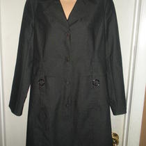 Express Black Chambray Denim Long Trench Coat/ Jacket Size 7/8 - Fully Lined Photo