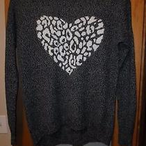 Express Black / Charcoal Heart Knit Sweater Medium Free Shipping Photo