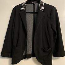 Express Black Cotton Blazer With Studded Collar Size Small Photo