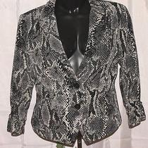 Express Black & Cream Snakeprint Button Front Blazer Jacket Sz 6 093 Photo