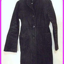 Express  Black Distress Denim Velvet Brushed Trench Style Jacket Coat Size 1/2 Photo