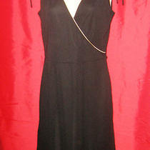 Express Black Dress 5/6 Sleeveless Knee Length Surplice Neckline Beige Trim   Photo