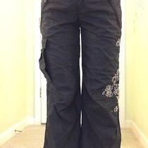 Express Black Embroidered Capri Pants Size 00 or Size 0 Photo