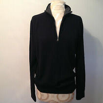 Express Black Extra Fine Merino Wool Men's Turtleneck Zip Sweater Size Medium Photo