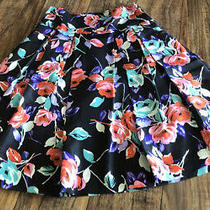 Express Black Flare Floral Silk Skirt Size 6 Photo