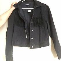 Express Black Fringe Cropped Denim Jacket (Size Xs) Photo