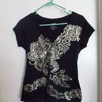 Express Black/gold Short Sleeve Top Size Medium Photo