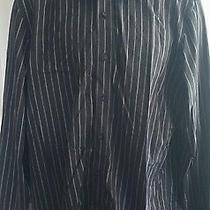 Express - Black Gray Striped Modern Fit Button Front Dress Shirt - L (16-16 1/2) Photo