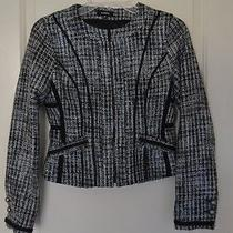 Express Black Gray White Fitted Crop Jacket Xs Slim Fit Photo