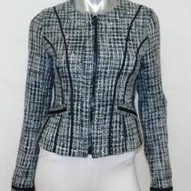Express Black/gray Wool Blend Tweed Full Zip Front Collarless Blazer/jacket Sz S Photo