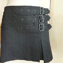 Express Black Hipster Buckle Mod Punk Micro Mini 60s Style Skirt Womens Xs 0   Photo