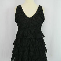 Express Black Lace Floral Print Tiered Back Zip Sleeveless Dress S 4-6 Photo