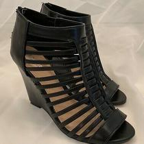 Express Black Lace Wedge Sandal Sz 6 Photo