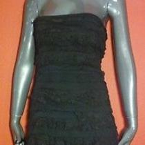 Express Black Lbd Ruffled Lace Strapless Bodycon Dress Size Small S Photo