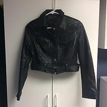 Express Black Leather Motorcycle Jacket Photo