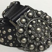 Express Black Leather Studded Belt Size L Photo
