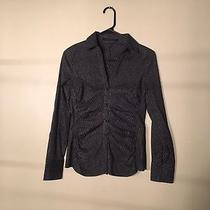 Express - Black Long Sleeve Button Down Shirt With Silver Stripes Size Xs Photo
