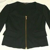 Express Black Long Sleeve Ponte Knit 2 Way Zip Jacket Sz 0- Photo
