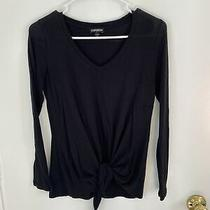 Express Black Long Sleeve Top With Tie at Bottom Size Xs Photo