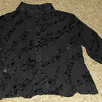 Express Black Long Slv See-Through Silk Blend Lace Botton Down Shirt  Sz 9/10  Photo