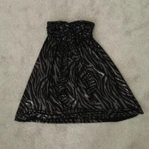 Express Black Metallic Shiny Zebra Strapless Dress Size Xs  Photo