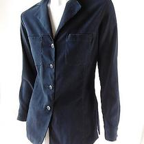 Express Black Micro-Suede Button Up Shirt Jacket Coat Comfortable Stretch Xs Photo