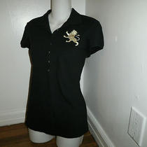 Express Black Mod  Chic Polo Top Shirt Size L     Pretty Photo