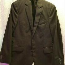 Express Black Pin Striped Suit Jacket Blazer Classic Slim Fit Mens Size 38s Wool Photo