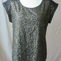 Express Black Scoop Neck Short Sleeve Blouse Gold Sequin Front Beautiful Top M Photo