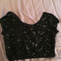 Express Black Sequin Crop Top Photo